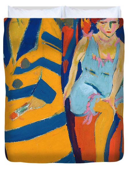 Self Portrait With A Model Duvet Cover by Ernst Ludwig Kirchner