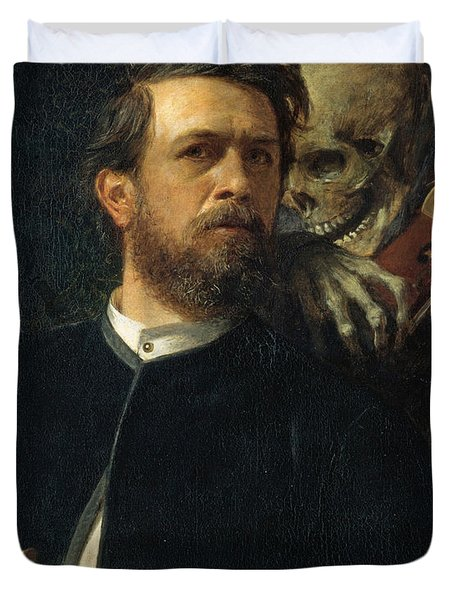 Self Portrait With Death Duvet Cover by Arnold Bocklin