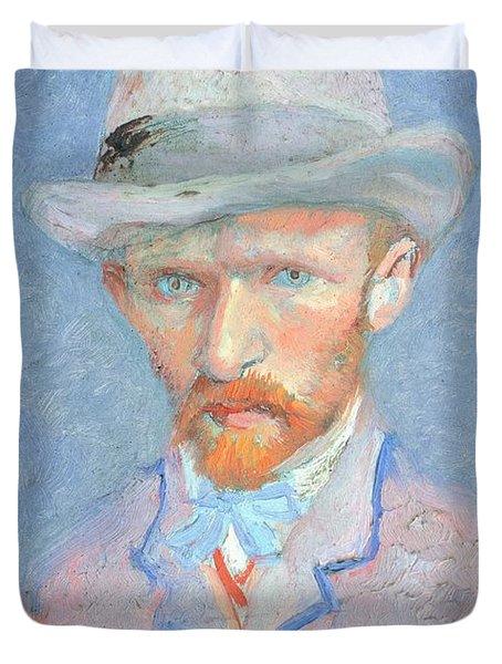 Self-portrait With Gray Felt Hat Duvet Cover by Vincent van Gogh