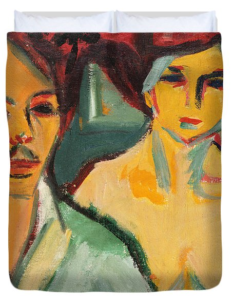 Self Portrait With Model Duvet Cover by Ernst Ludwig Kirchner
