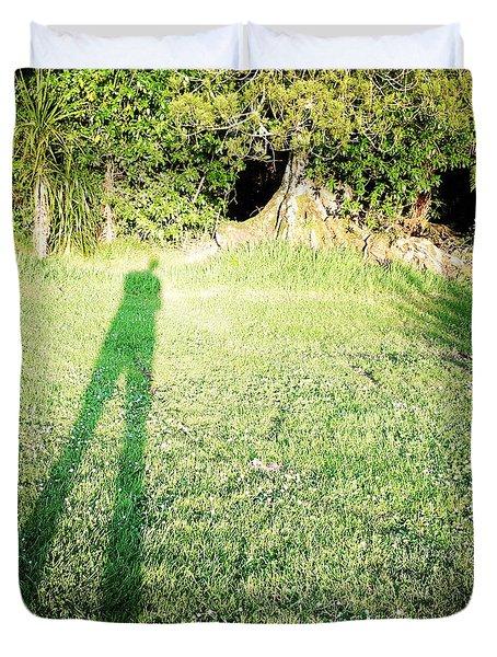 Selfie Shadow Duvet Cover by Les Cunliffe