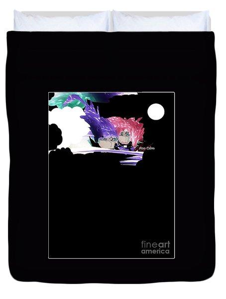 Duvet Cover featuring the digital art Selfless Women by Ann Calvo