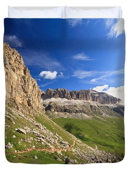 Duvet Cover featuring the photograph Sella Mountain And Pordoi Pass by Antonio Scarpi