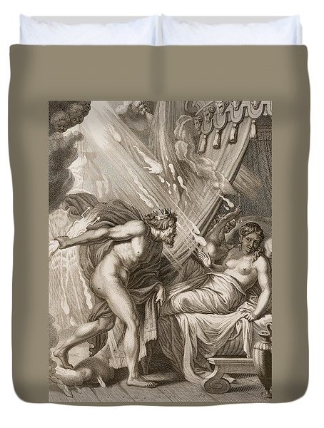 Semele Is Consumed By Jupiters Fire Duvet Cover by Bernard Picart