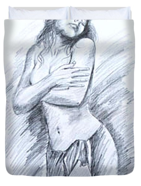 Duvet Cover featuring the painting Semi Nude by Ragunath Venkatraman