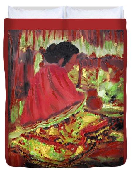Seminole Indian At Work Duvet Cover