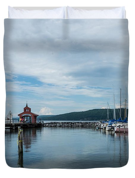 Seneca Lake Harbor - Watkins Glen - Wide Angle Duvet Cover by Photographic Arts And Design Studio