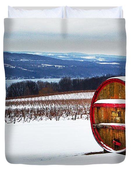 Seneca Lake Winery In Winter Duvet Cover