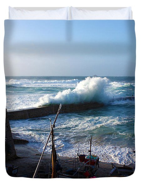 Sennen Cove Harbour Cornwall Duvet Cover by Terri Waters