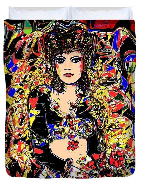 Senorita Florita Duvet Cover by Natalie Holland