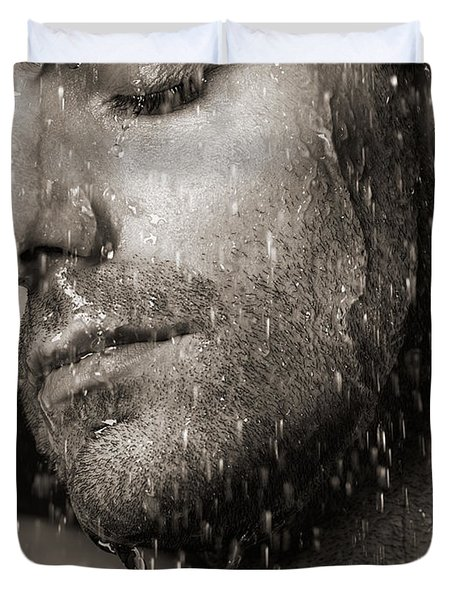 Sensual Portrait Of Man Face Under Pouring Water Black And White Duvet Cover by Oleksiy Maksymenko