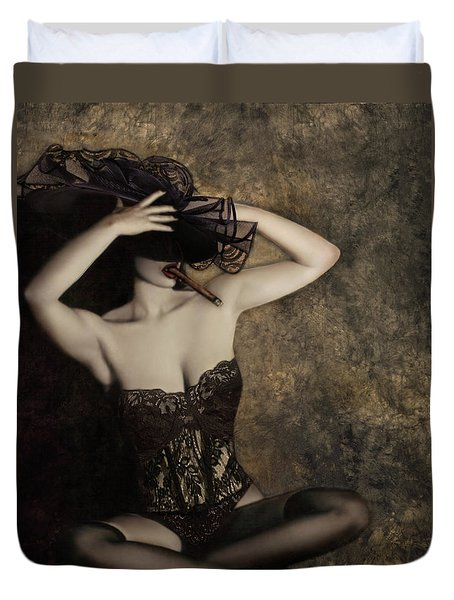 Sensuality In Sepia - Self Portrait Duvet Cover by Jaeda DeWalt