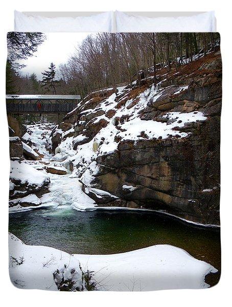 Sentinel Pine Bridge In Winter Duvet Cover