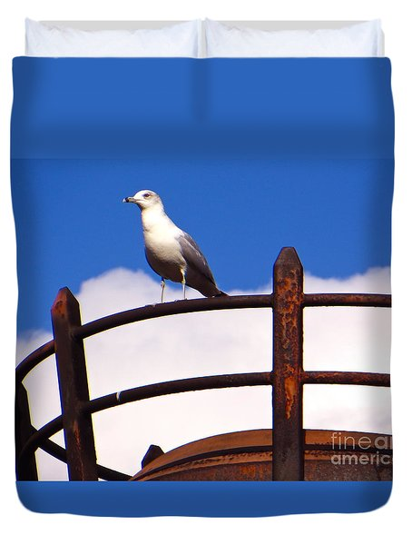 Duvet Cover featuring the photograph Sentinel Sea Gull by Joy Hardee