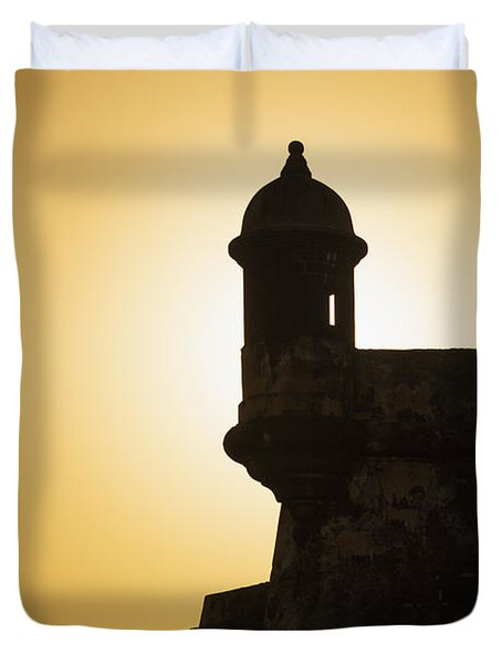 Sentry Box At Sunset At El Morro Fortress In Old San Juan Duvet Cover