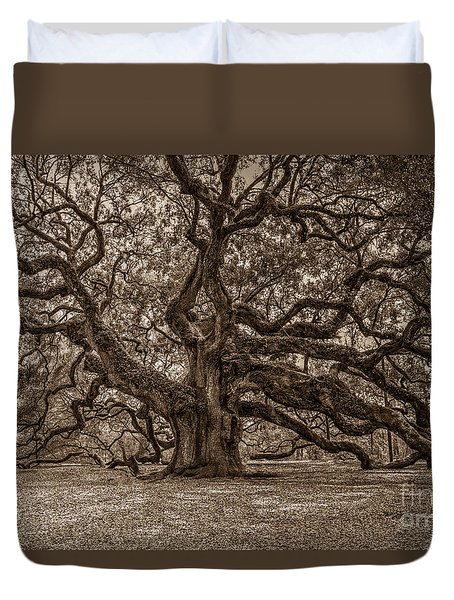 Sepia Angel Oak Duvet Cover