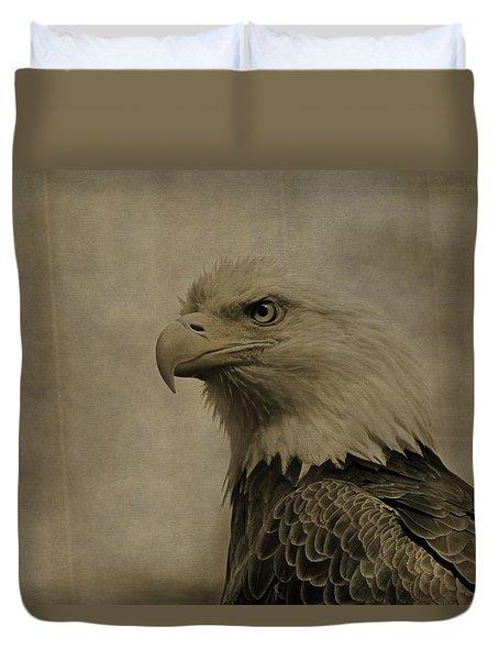 Sepia Bald Eagle Portrait Duvet Cover by Dan Sproul