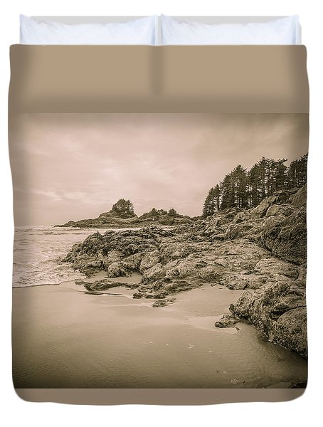 Cox Bay Sepia Duvet Cover by Roxy Hurtubise