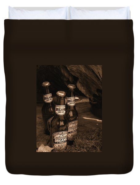 Duvet Cover featuring the photograph Sepia Bottles by Rachel Mirror