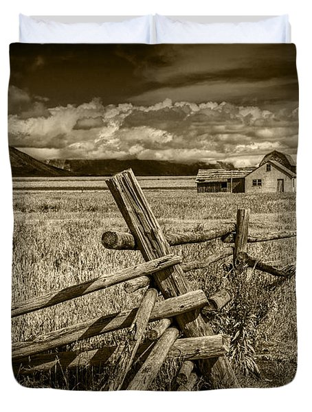Sepia Colored Photo Of A Wood Fence By The John Moulton Farm Duvet Cover by Randall Nyhof