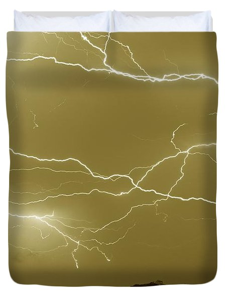 Sepia Converging Lightning Duvet Cover