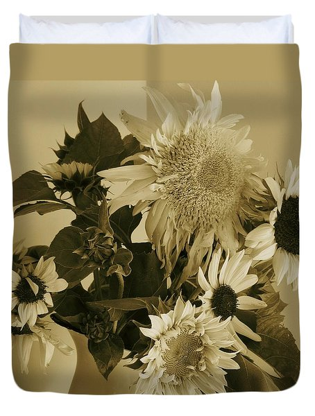 Sepia Garden Sunflower Bouquet Duvet Cover by Mary Wolf