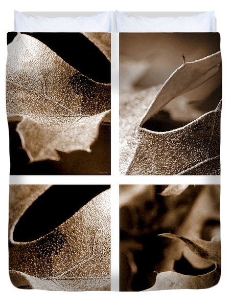 Duvet Cover featuring the photograph Sepia Leaf Collage by Lauren Radke