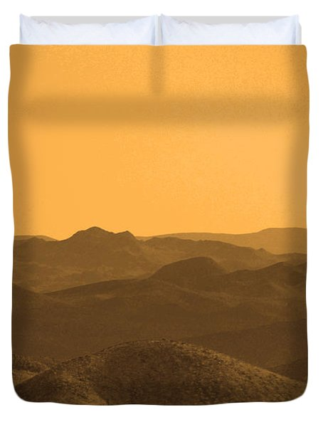 Sepia Mountains Duvet Cover