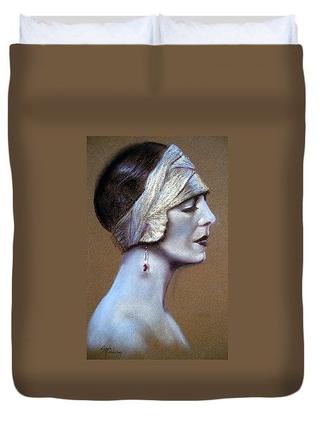 Sepia Siren Duvet Cover by Lynda Robinson