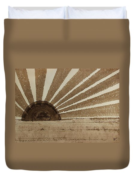 Sepia Sunset Original Painting Duvet Cover by Sol Luckman