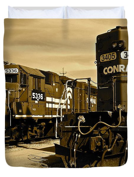 Sepia Trains Duvet Cover by Frozen in Time Fine Art Photography