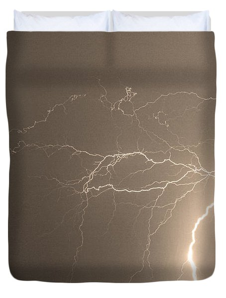 Sepia Tropical Thunderstorm Night  Duvet Cover by James BO  Insogna