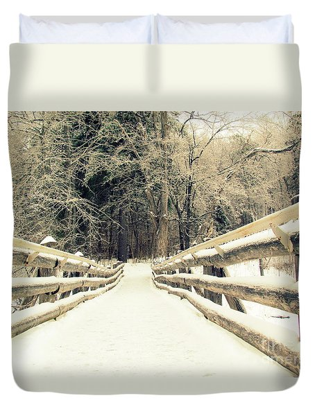 Duvet Cover featuring the photograph Sepia Winter Land by France Laliberte