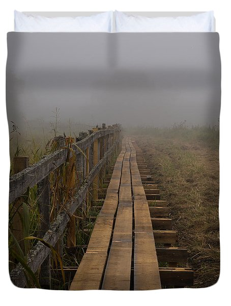 Duvet Cover featuring the photograph September Mist Hdr - Foggy Day Over Walk Way by Leif Sohlman