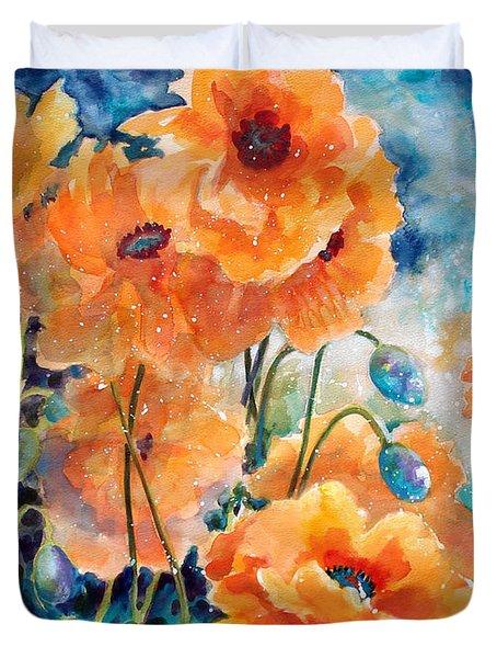 September Orange Poppies            Duvet Cover