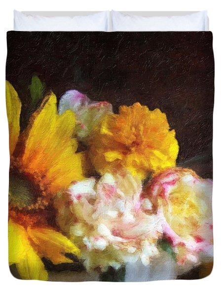 Duvet Cover featuring the digital art September Still Life by Lianne Schneider