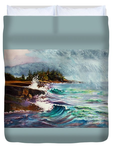 September Storm Lake Superior Duvet Cover by Kathy Braud