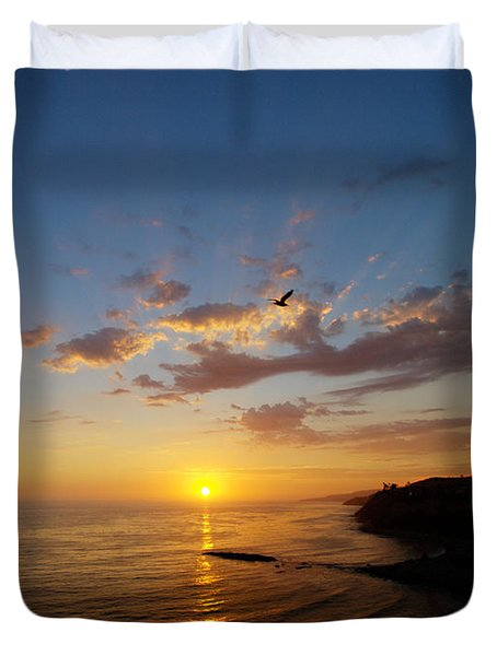 Duvet Cover featuring the photograph September Sunday Sunset  by Joe Schofield