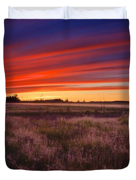 September Sunset North Pole Alaska Duvet Cover