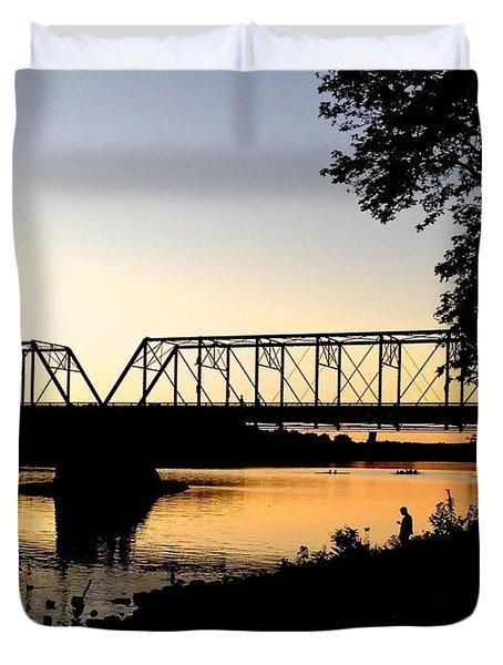 September Sunset On The River Duvet Cover