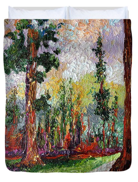 Duvet Cover featuring the painting Sequoia Path National Parks  by Ginette Callaway