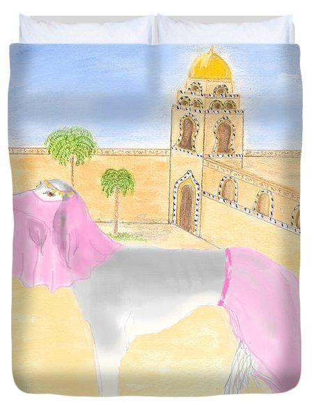 Duvet Cover featuring the painting Serena All Set For Arabian Nights by Stephanie Grant