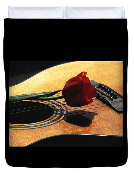 Duvet Cover featuring the photograph Serenade by Angela Davies