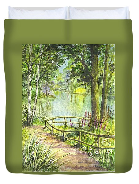 Duvet Cover featuring the painting Serendipity Stroll by Carol Wisniewski