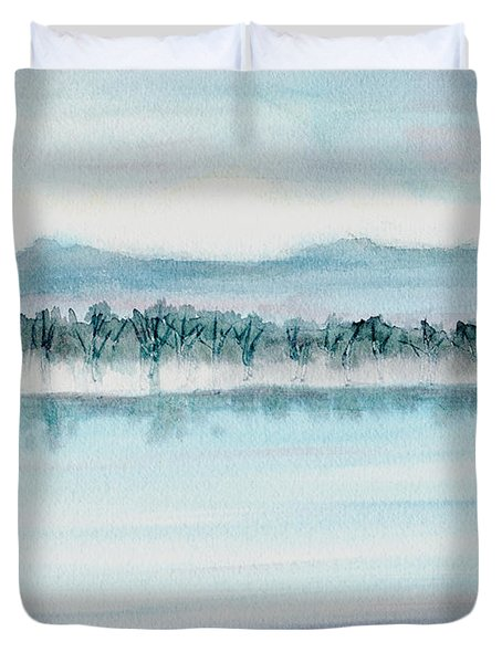 Serene Lake View Duvet Cover by Mickey Krause