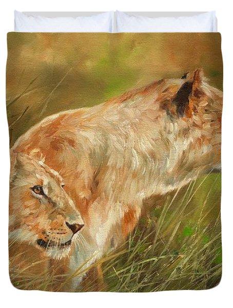 Serengeti Sisters Duvet Cover by David Stribbling