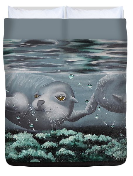 Duvet Cover featuring the painting Serenity by Dianna Lewis