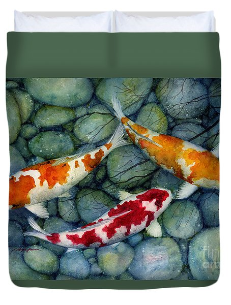 Duvet Cover featuring the painting Serenity Koi by Hailey E Herrera