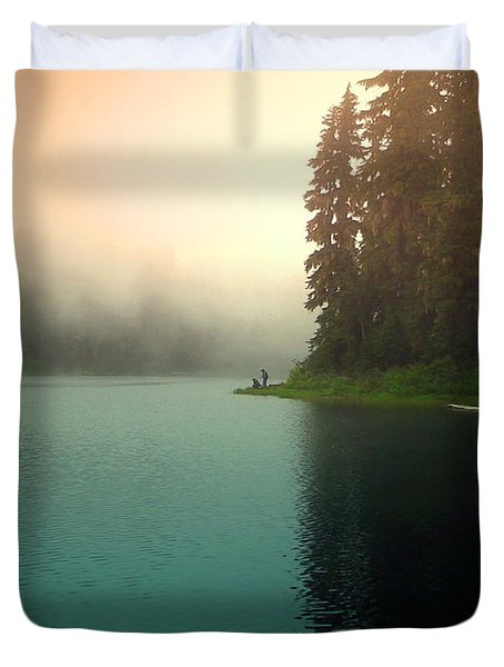 Serenity On Blue Lake Foggy Afternoon Duvet Cover by Joyce Dickens