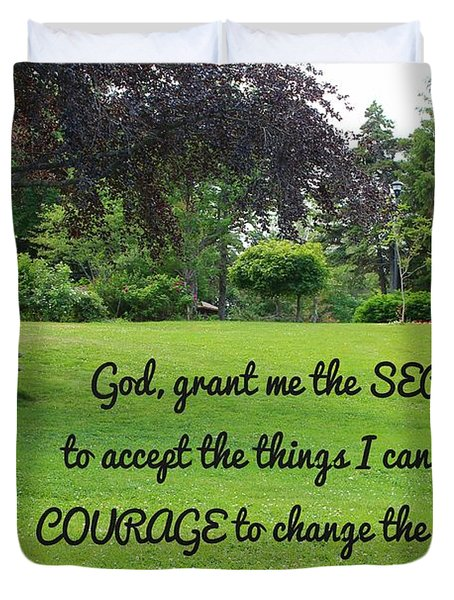 Serenity Prayer And Park Bench Duvet Cover by Barbara Griffin